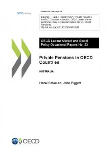 Private Pensions in OECD Countries