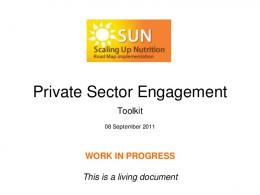 Private Sector Engagement Toolkit - Scaling Up Nutrition