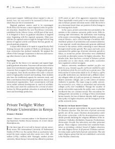 Private Twilight: Wither Private Universities in Kenya
