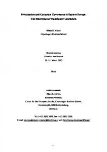 Privatisation and Corporate Governance in Eastern ... - Klaus Meyer