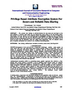 Privilege Based Attribute Encryption System For Secure and ... - IJIRCCE