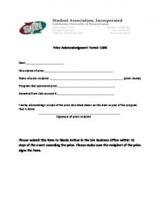 Prize Acknowledgment Form# 1500 Please submit this form to ...