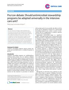 Pro/con debate: Should antimicrobial stewardship ... - BioMedSearch