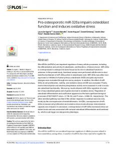 Pro-osteoporotic miR-320a impairs osteoblast function and ... - PLOS