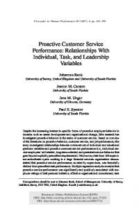 Proactive Customer Service Performance