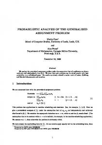 PROBABILISTIC ANALYSIS OF THE