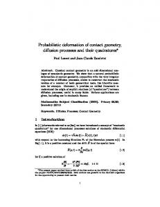Probabilistic deformation of contact geometry, diffusion ... - CiteSeerX