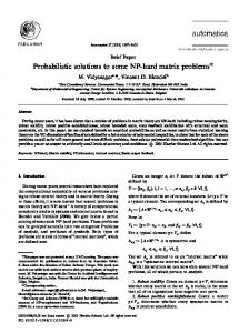 Probabilistic solutions to some NP-hard matrix problems - CiteSeerX