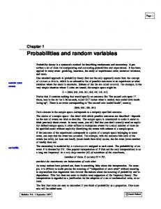 Probabilities and random variables