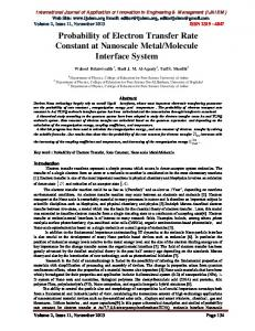 Probability of Electron Transfer Rate Constant at Nanoscale ... - ijaiem