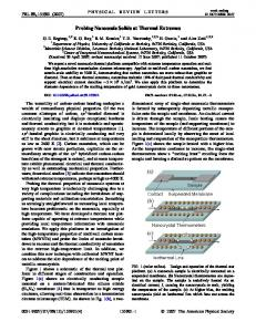 Probing Nanoscale Solids at Thermal Extremes - University of ...