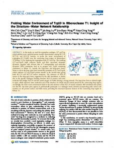 Probing Water Environment of Trp59 in Ribonuclease T1 - American ...