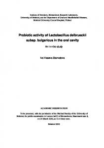 Probiotic activity of Lactobacillus delbrueckii subsp ... - CiteSeerX