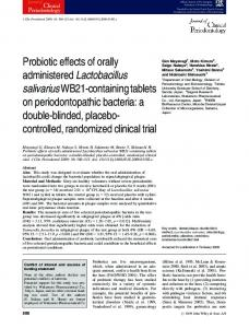 Probiotic effects of orally administered Lactobacillus salivarius WB21