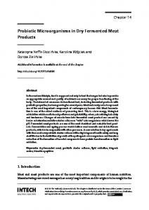 Probiotic Microorganisms in Dry Fermented Meat Products - IntechOpen