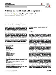 Probiotics - the versatile functional food ingredients