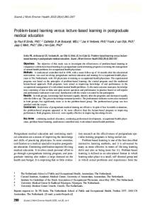 Problem-based learning versus lecture-based