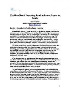 Problem Based Learning What do you need to ... - Personal.psu.edu
