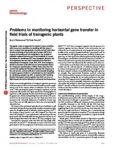 Problems in monitoring horizontal gene transfer in field trials of ...