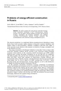 Problems of energy-efficient construction in Russia - E3S Web of ...