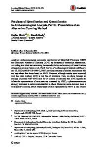 Problems of Identification and Quantification in ...