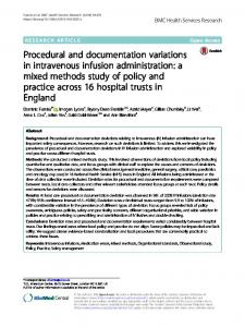 Procedural and documentation variations in intravenous infusion