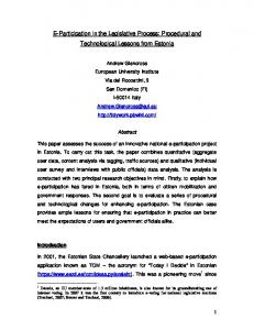 Procedural and Technological Lessons from Estonia - CiteSeerX