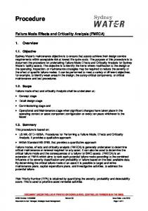 Procedure for failure mode effects and criticality ... - Sydney Water
