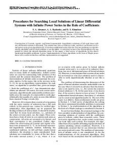Procedures for Searching Local Solutions of Linear ... - Springer Link