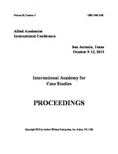 proceedings - Allied Academies