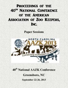Proceedings of the 40th National Conference of the American ... - AAZK