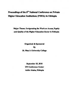 Proceedings of the 8 National Conference on Private Higher ...