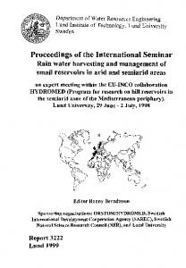 Proceedings of the international seminar rain water harvesting and ...