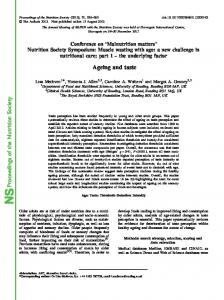 Proceedings of the Nutrition Society Ageing and taste - Cambridge ...