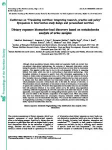 Proceedings of the Nutrition Society Dietary exposure ...