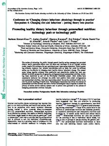 Proceedings of the Nutrition Society Promoting ...