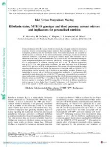 Proceedings of the Nutrition Society Riboflavin status ...