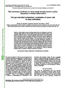 Proceedings of the Nutrition Society The gut microbial metabolome ...