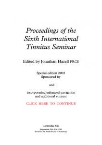 Proceedings of the Sixth International Tinnitus Seminar