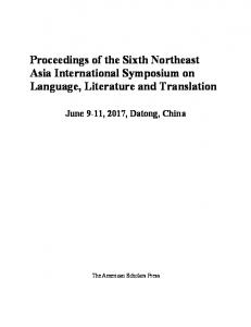 Proceedings of the Sixth Northeast Asia International ...