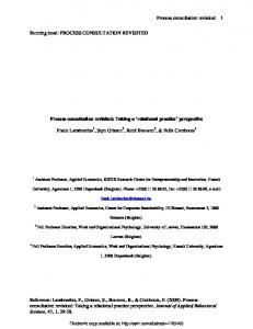 Process consultation revisited Reference: Lambrechts ... - SSRN papers