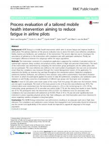 Process evaluation of a tailored mobile health intervention aiming to ...