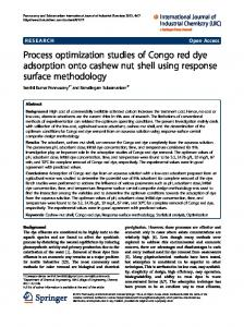 Process optimization studies of Congo red dye adsorption onto ...