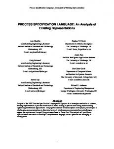 PROCESS SPECIFICATION LANGUAGE: An Analysis of Existing ...
