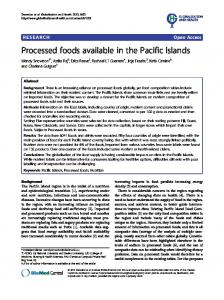 Processed foods available in the Pacific Islands - Springer Link
