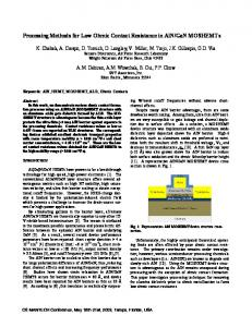 Processing Methods for Low Ohmic Contact Resistance in ... - CiteSeerX