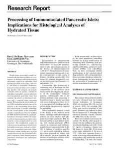 Processing of Immunoisolated Pancreatic Islets ...