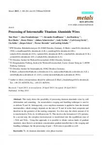Processing of Intermetallic Titanium Aluminide Wires - MDPI