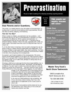 Procrastination handout - NS TKD.pub - North Shore Taekwondo