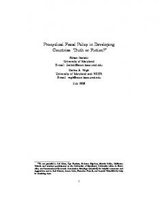 Procyclical Fiscal Policy in Developing Countries: Truth or ... - CiteSeerX